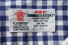 Turnbull & Asser M 16.5/31 Blue Gingham Check LS Shirt - England - $365.00