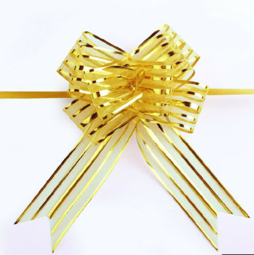 10pcs Organza Yarn Pull Bows Ribbons Wedding Party Flowers Decoration Gift Wraps