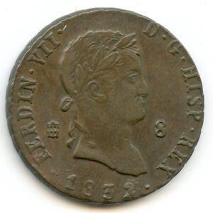 Espagne-Ferdinand-VII-1808-1833-8-Maravedis-1832-KM-486-1
