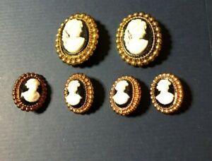 Vintage-Lot-of-Faux-Metal-Plastic-Cameo-Buttons-2-Designs-Sizes-Pre-1980-CLEAN