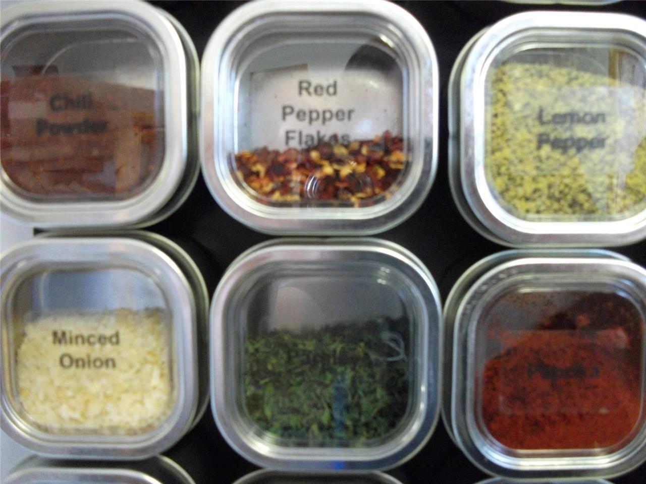 Culinarian magnétique étagère à épices - 48 Bravada Spice Tins, Versa-Board, étiquettes