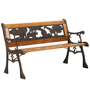 Pleasing Details About Patio Garden Bench Kids Indoor Armrest Bench Outdoor Teak Bronze Frame Bench New Pabps2019 Chair Design Images Pabps2019Com