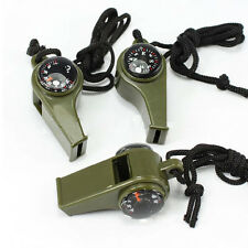 3in1 Whistle Compass Thermometer For Outdoor Emergency Gear Camping Survival Hot