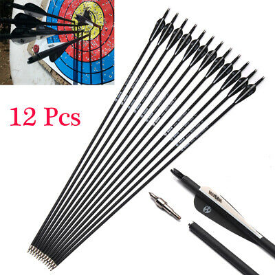 """6//12Pcs 30/"""" SP500 Carbon Shaft Arrows OD 7.8mm For Recurve//Compound Bow Hunting"""