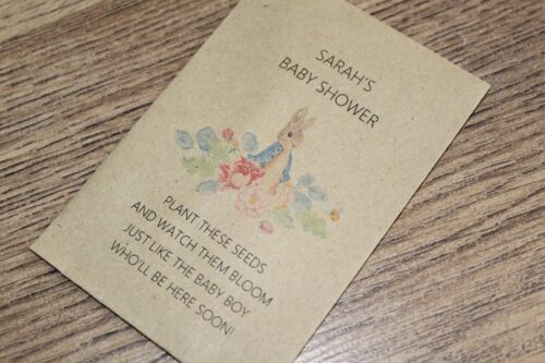 Personalised Seed Packets Flowers Baby Shower Favour Boy Girl Peter Rabbit