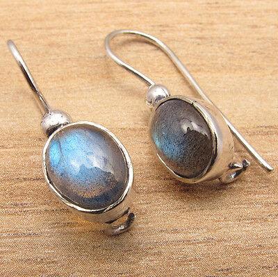 HANDMADE JEWELRY EARRINGS, Real LABRADORITE Gems ! 925 Silver Plated GEMSET