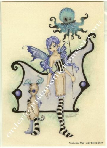 Amy Brown Print 5x7 Natalie /& Meg Octopus Faery Fairy Stitchling balloon flying