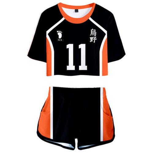 Haikyuu! Karasuno High School Uniform Cosplay Kei Tsukishima Shirt Shorts