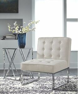 Details about Accent Chair Armless Modern Upholstered Padded Tufted Seat  Living Room Furniture