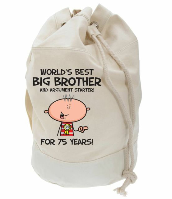 Worlds Best Big Brother 75th Birthday Present Duffle Bag