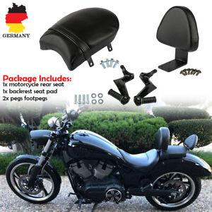 Motorrad-Beifahrersitz-Hinten-Soziussitz-Rueckenlehne-Fussrasten-Fuer-Victory