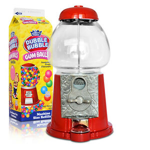 Retro-Gum-Ball-Maschine-Kaugummiautomat-23cm-gross-2-Milchtueten-Geschenkset