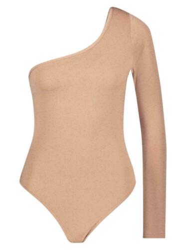 New Ladies One Shoulder Plain Body Suit Long Sleeve T Shirt Leotard Top