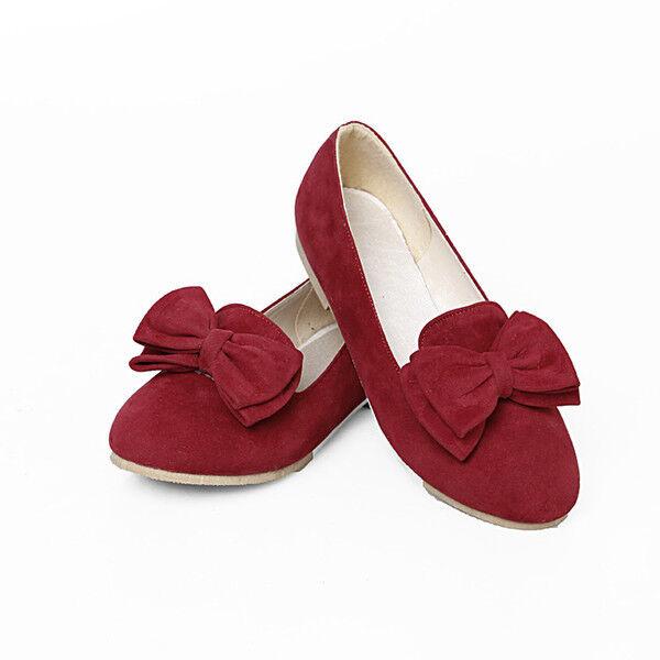 ballerine mocassini scarpe donna comode rosso fiocco morbide simil pelle 9788