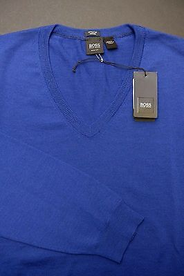 NWT Hugo Boss Men's Belba Slim Fit V-Neck Extra Fine Merino Wool Blue Sweater XL