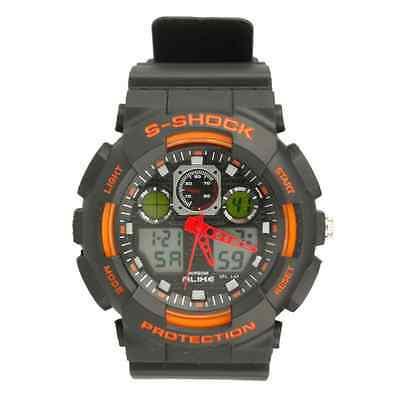 AK1055 Men's Sport Military Diving LED Digital Black Leather Quartz Wrist Watch