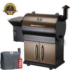 Wood Pellet Grill Smoker 7 in 1 Electric Digital Controls w/ Patio Cover