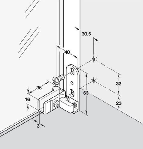 Top Bottom 2=1 pair 2 X Hafele Sprung Glass Door Inset Mount Pivot Hinges 180°