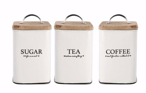 SET OF 3 SUGAR TEA COFFEE CANISTER SET RETRO WOODEN GIFT LID STORAGE WHITE TIN