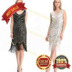 79f58a8a635 1920  039 s Flapper Dress Gatsby Charleston Sequin Fringe Vintage ...