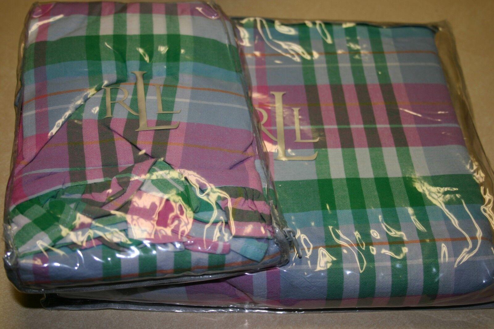 Ralph Lauren UNIVERSITY CAITLIN Madras TWIN Extra Long BEDSKIRT & EURO Sham New