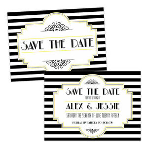 Personalised-Save-the-Date-cards-BLACK-WHITE-1920-039-S-ART-DECO-FREE-ENVELOPES-amp-DR