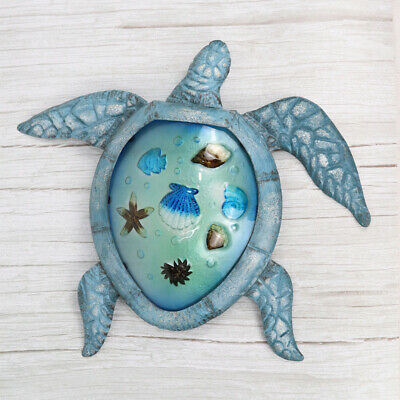 Metal /& Glass Fish Wall Decor hanging sculpture for patio porch room