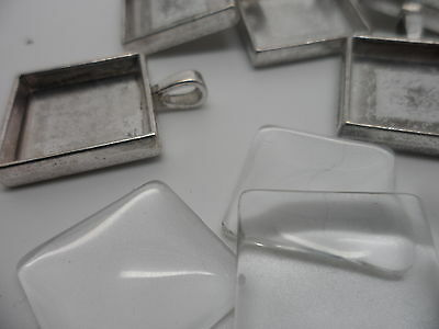 5 Silver Square Pendant Making Set,5 Settings & 5 Cabochons.32x24mm,tray 20mm