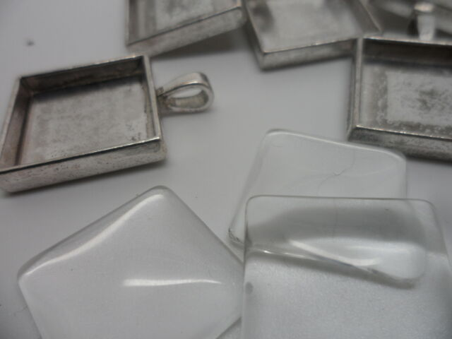 5 Silver Square Pendant Making Set,5 Settings & 5 Cabochons.32x24mm,tray 20mm
