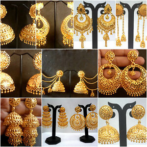 Earrings-22K-Gold-Plated-Indian-Designer-Variation-Different-party-Jhumka-a