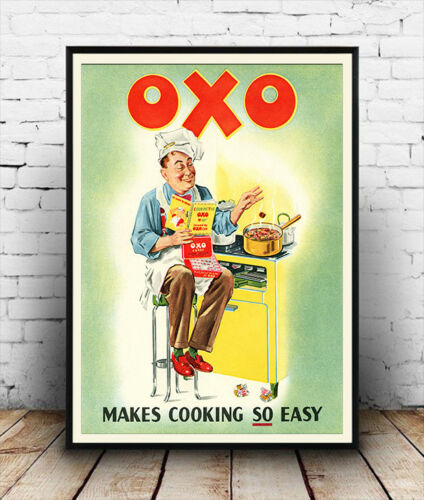 Vintage advertising Reproduction poster Oxo makes cooking so easy Wall art.