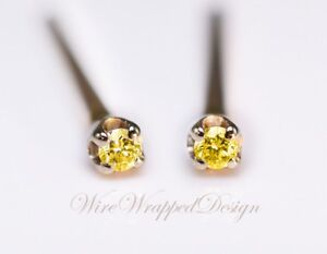Details About Genuine Canary Yellow Diamond Earrings 1 3mm 0 02tcw Treated Si 14k Gold Silver