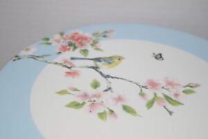 Image is loading NEW-GRACE-TEAWARE-NATURE-BIRD-FLOWER-PINK-RIBBON- & NEW GRACE TEAWARE NATURE BIRD FLOWER PINK RIBBON BLUE CAKE PLATE ...