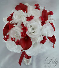 17 Piece Package Silk Flower Wedding Bridal Bouquets Calla Lily Apple RED WHITE