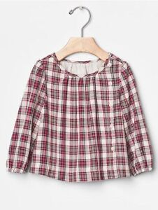73ef1a9b9b2 GAP Baby Girls Size 3-6 Months Red Ivory Festive Plaid Long-Sleeved ...