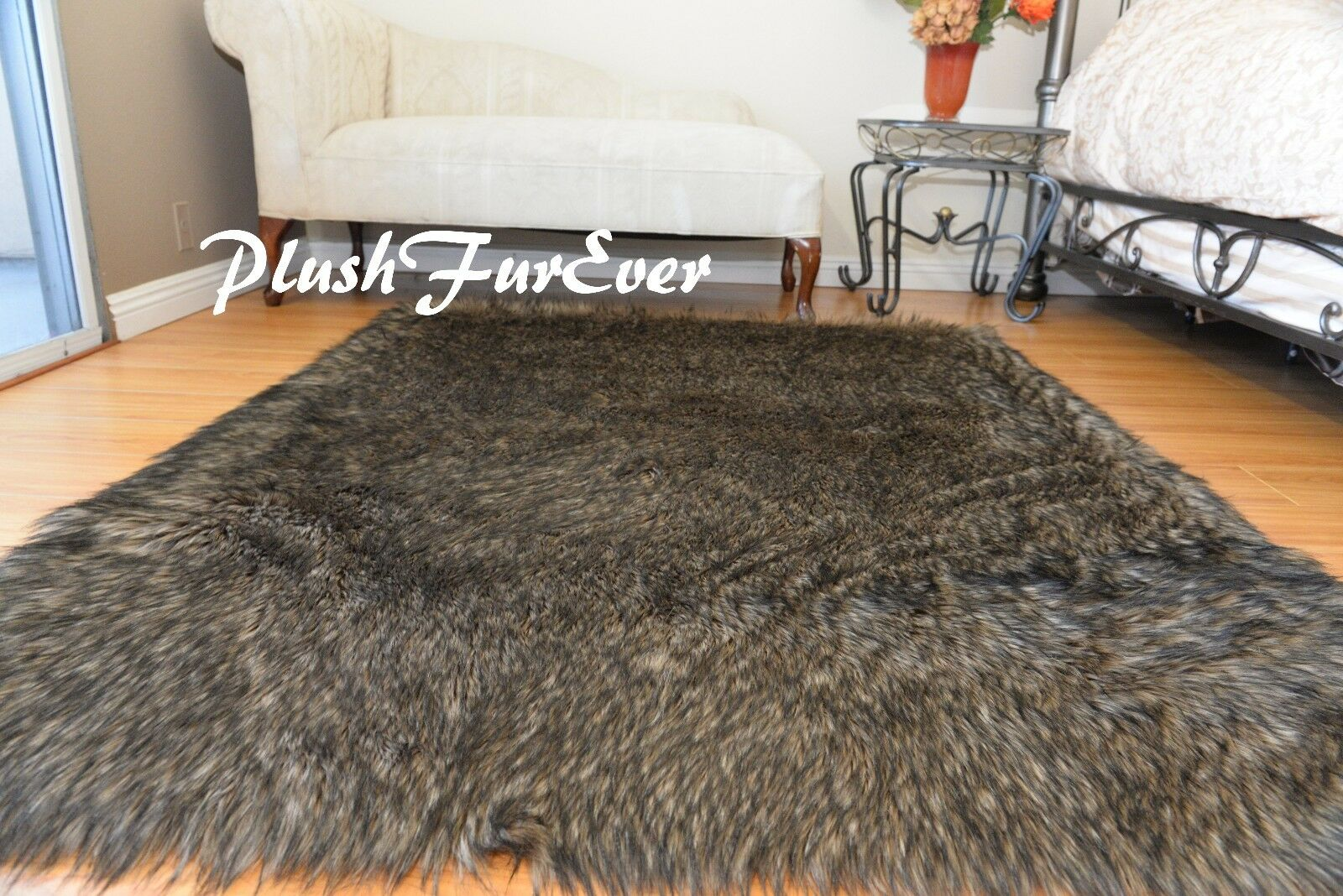 Dark Coyote Rectangle Plush Area Rug Faux Fur Lodge Cottage Rustic Home