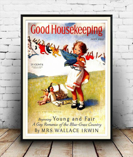 vintage magazine cover poster Good Housekeeping Reproduction. Wall art