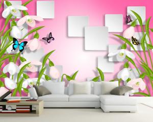 3D bluemen Schmetterling 865 Tapete Wandgemälde Tapete Tapeten Bild Familie DE