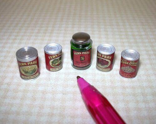 "5 Set #1-B: DOLLHOUSE 1:12 Miniature Quality /""Fern Park/"" Canned Goods"