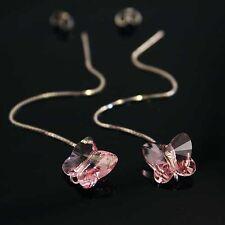 Rosa Mariposa swarovskielements Cristal Plata 925 Aretes Dama de honor del Reino Unido