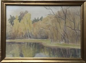 Watercolour-Denmark-Lake-Shore-in-Autumn-Signed-10-3-16x14-3-16in
