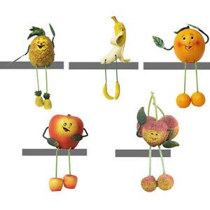 5pc Apple/Orange/Banana/Pineapple/Lychee Shelf Sitter Window Sill Fruit Figurine