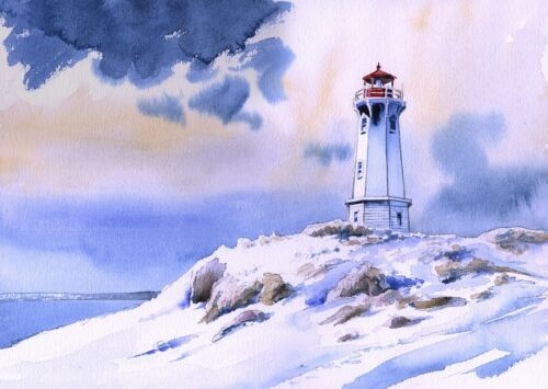 Nova Scotia Louisbourg Point Lighthouse Snow Canada Art Prints Cape Breton