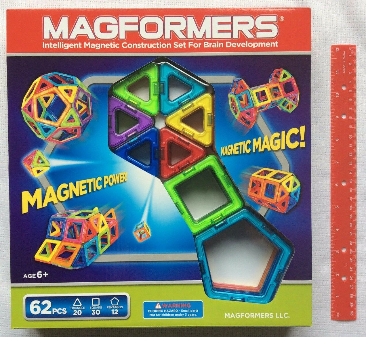 Magformers 62 Pc. Set Magnetic Building Shapes 63070 Rainbow Build Construction