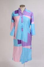 Vintage 80s Retro Pink Blue Pastel Geometric 3/4 Sleeve Tunic Midi Shirt Dress M