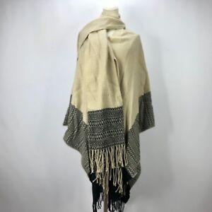 Noir à Franges Aztèque Nwt Foulard Poncho Femme Indien Cape Msrp xnwn1ISq7