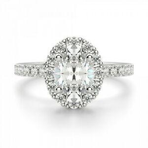 1.20 Ct Oval Cut Moissanite Engagement Ring 18K Solid White Gold ring Size 5 6