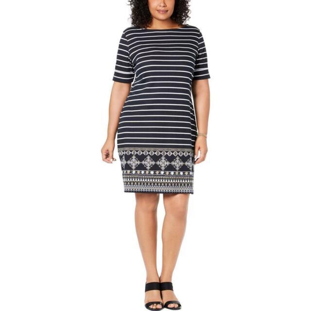 Karen Scott Womens Plus Size Elbow Sleeves Dress Black 3X