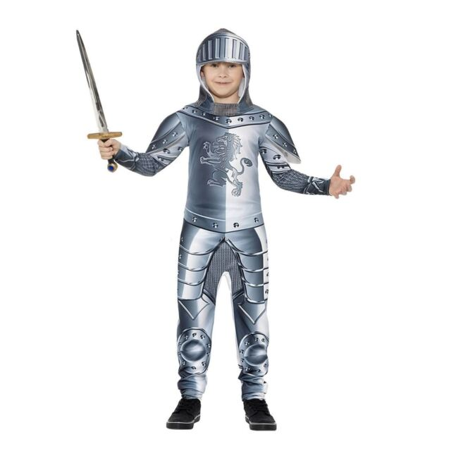 Kids Medieval Knight Costume Childs Suit of Armour Fancy Dress Book Day Set