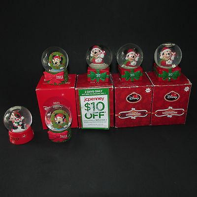 6 JC Penney Disney Snowglobes Black Friday Mickey Mouse 2007 2011 2013